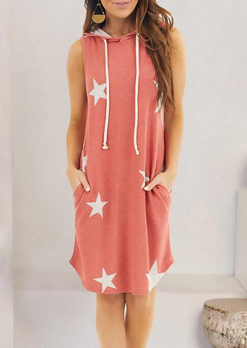 Star Drawstring Pocket Hooded Mini Dress - Brick Red фото