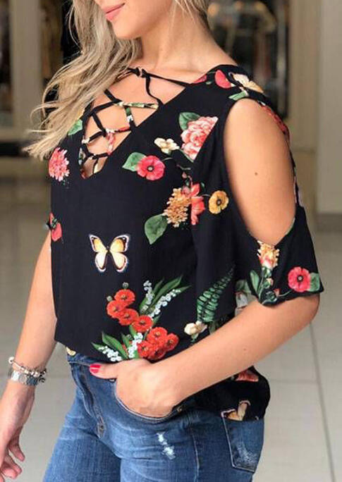 Blouses Floral Criss-Cross Cold Shoulder V-Neck Blouse in Black. Size: S,M,L,XL фото