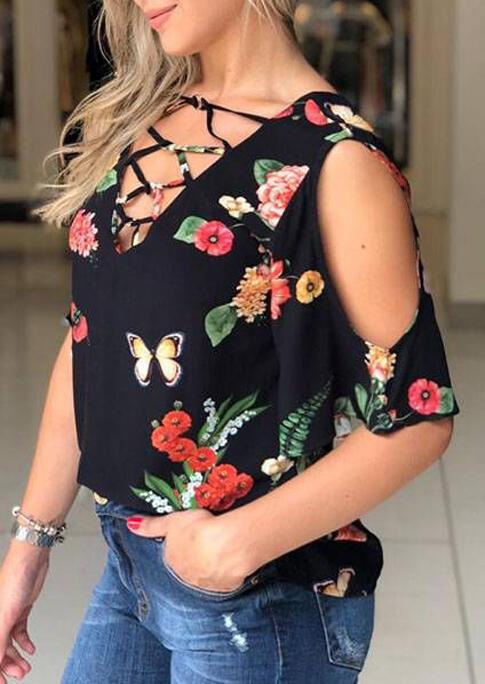 Floral Criss-Cross Cold Shoulder V-Neck Blouse - Black фото