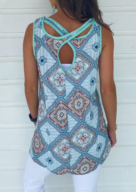 Geometric Pocket Open Back Tank - Lake Blue фото