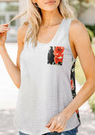 Striped Splicing Floral Pocket Tank