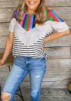 Color Block Striped Splicing T-Shirt Tee