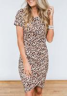 Asymmetric Leopard Ruffled Bodycon Dress