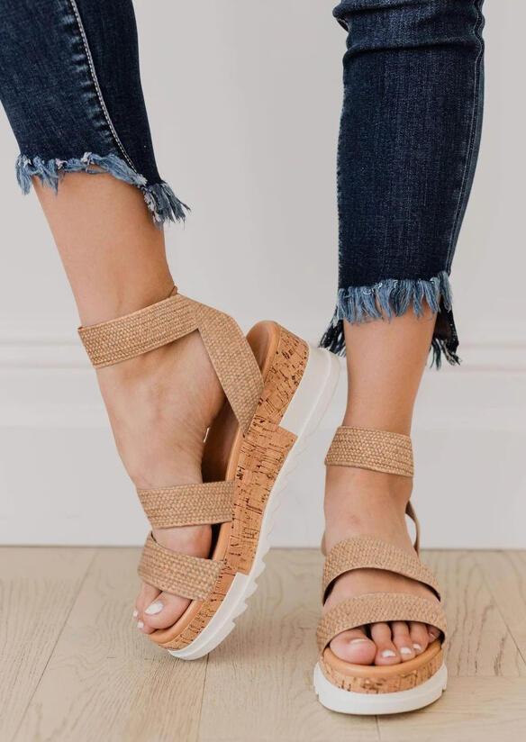 Weave Round Toe Wedged Sandals - Apricot