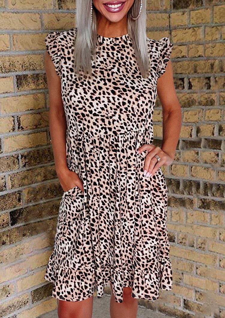 Leopard Ruffled Pocket Button Cap Sleeve Casual Dress фото