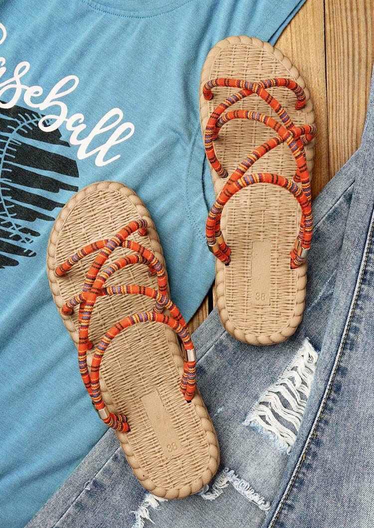 Sandals Criss-Cross Bohemian Slip On Sandals in Orange. Size: 36,37 фото