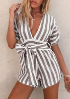 Striped Zipper Deep V-Neck Romper