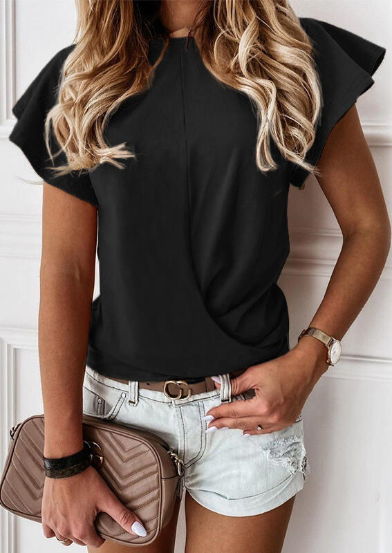 Ruffled Wrap Flare Sleeve Blouse - Black фото