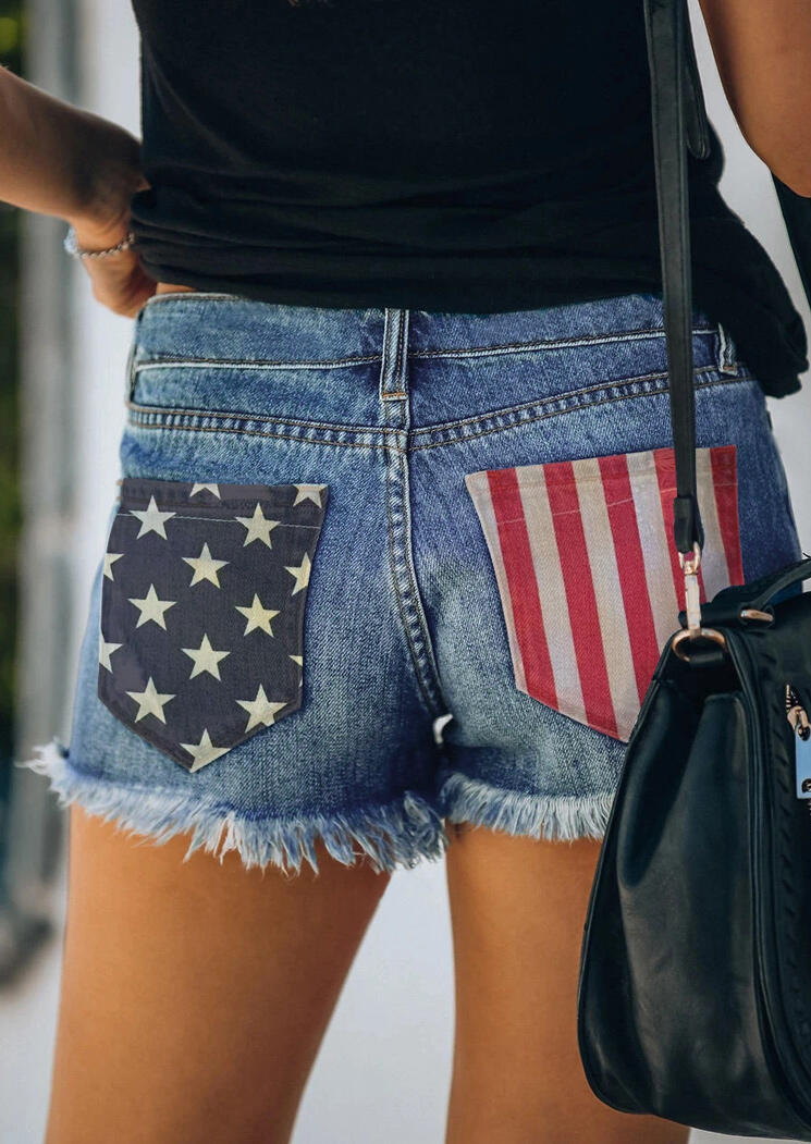 Shorts American Flag Ripped Hole Pocket Button Denim Shorts in Blue. Size: S,M,L,XL фото
