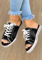 Lace Up Peep Toe Flat Slippers without Anklet