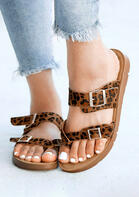 Leopard Buckle Strap Round Toe Anti-slip Flat Slippers