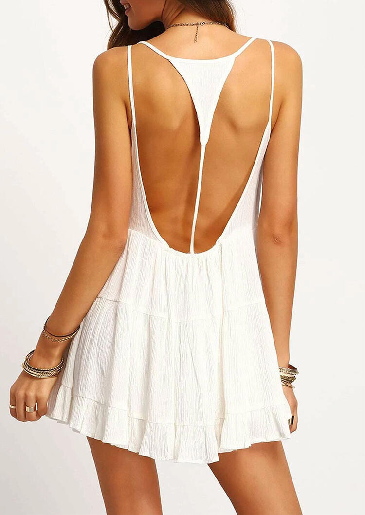 Open Back Spaghetti Strap Ruffled Mini Dress without Necklace - White фото