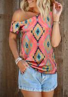 Aztec Geometric One Shoulder Blouse