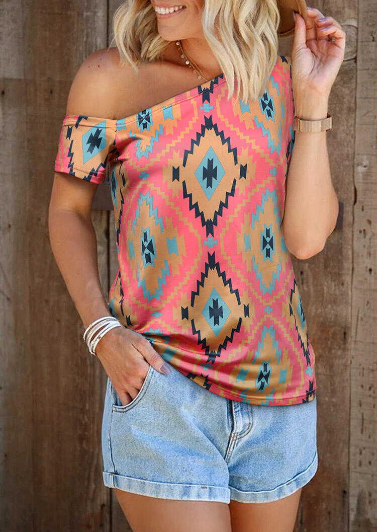 Blouses Aztec Geometric One Shoulder Blouse without Necklace in Multicolor. Size: XL фото