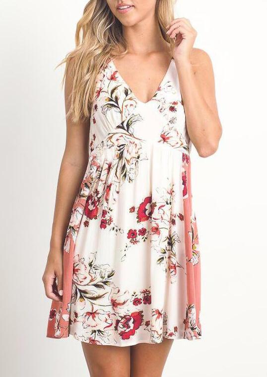 Floral Open Back Ruffled Mini Dress - White фото