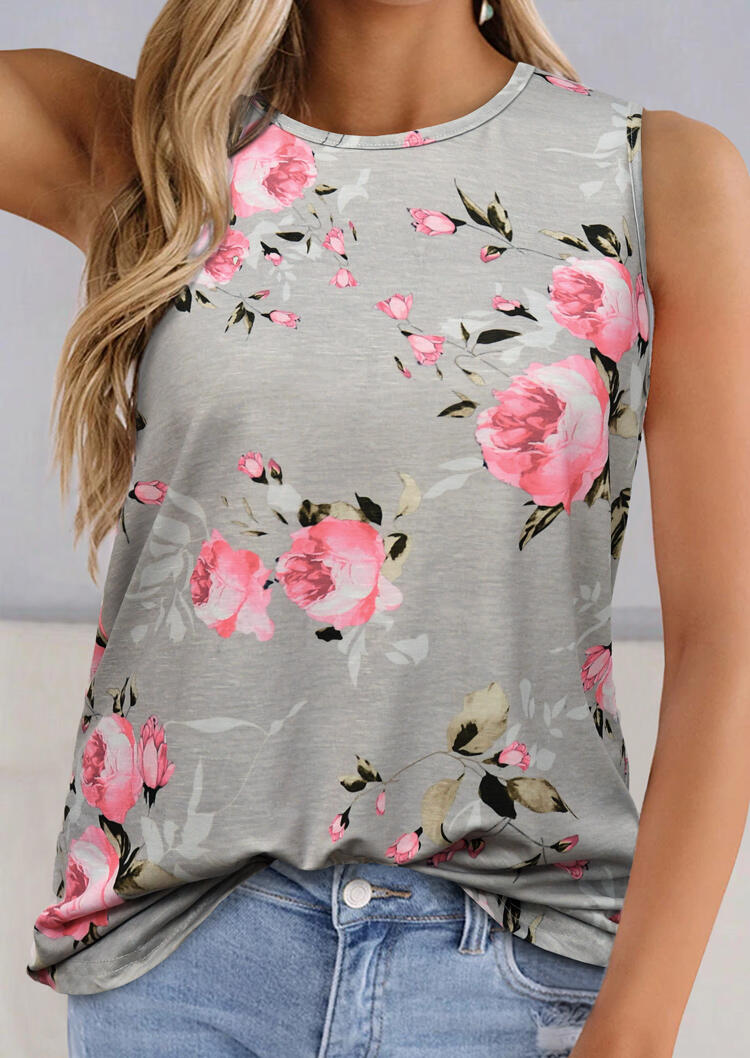 Tank Tops Floral O-Neck Tank in Light Grey. Size: S,M,L,XL фото