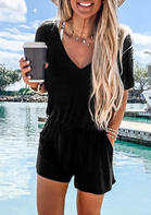 Ruffled Pocket Romper without Necklace - Black