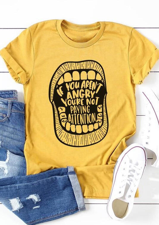 Tees T-shirts If You Aren't Angry You're Not Paying Attention T-Shirt Tee in Yellow. Size: S фото