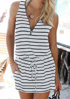 Striped Splicing Zipper Drawstring Mini Dress