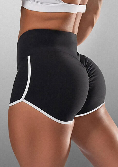 Activewear Color Block Activewear Fitness Sports Shorts in Black. Size: S,M,L,XL фото