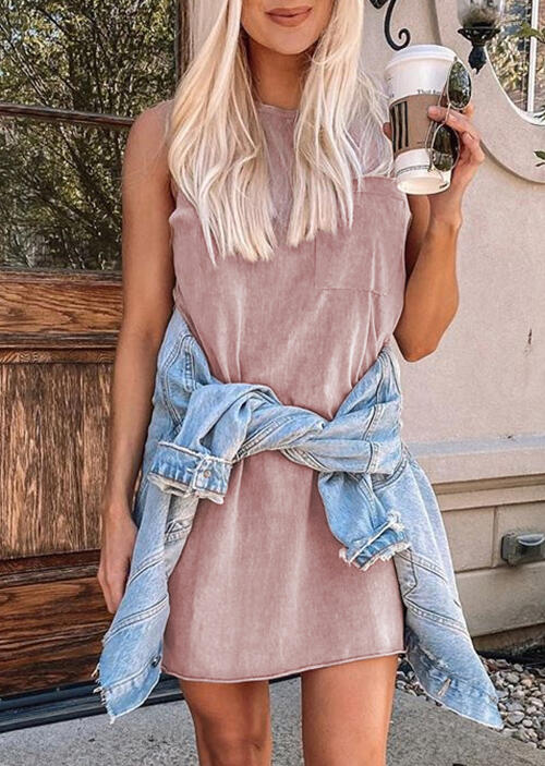 Pocket Sleeveless Mini Dress - Pink фото