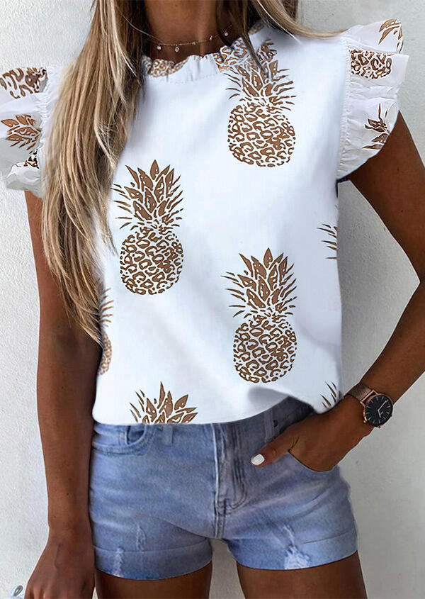 Blouses Pineapple Ruffled Button Blouse without Necklace in White. Size: S,M,L,XL фото