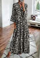 fairyseason clothing - Leopard Ruffled Maxi Dress