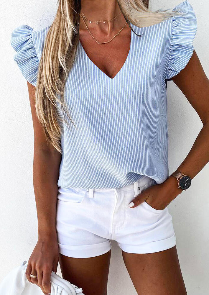 Blouses Striped Ruffled V-Neck Blouse without Necklace in Blue. Size: S,M,L,XL фото