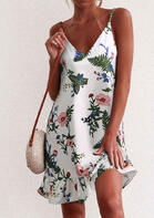 Floral Ruffled Open Back Spaghetti Strap Mini Dress