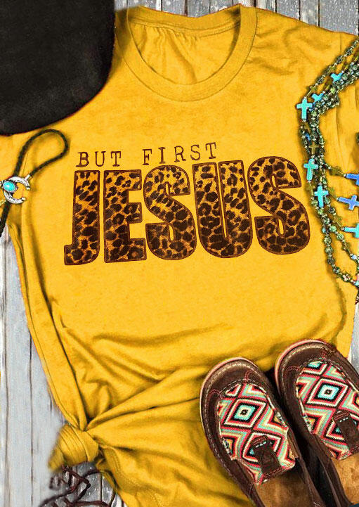 Tees T-shirts But First Jesus Leopard T-Shirt Tee in Yellow. Size: S,M,L,XL фото