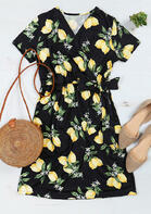 Lemon Tie Wrap Mini Dress