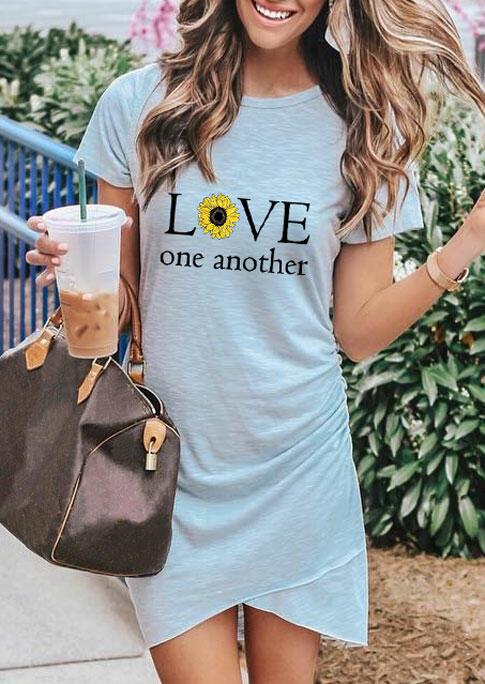Sunflower Love One Another Ruffled Mini Dress - Gray фото