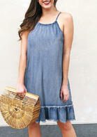 Hollow Out Ruffled Spaghetti Strap Denim Mini Dress