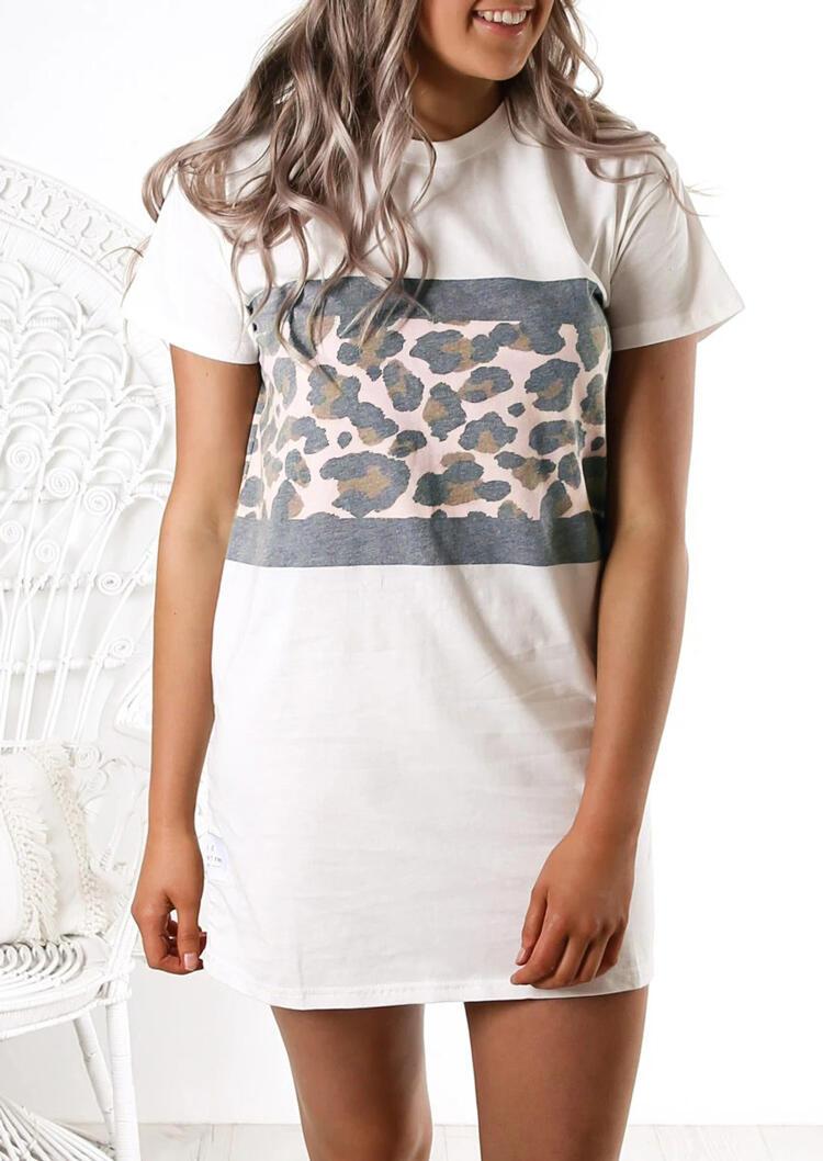 Leopard Splicing O-Neck Mini Dress - White фото