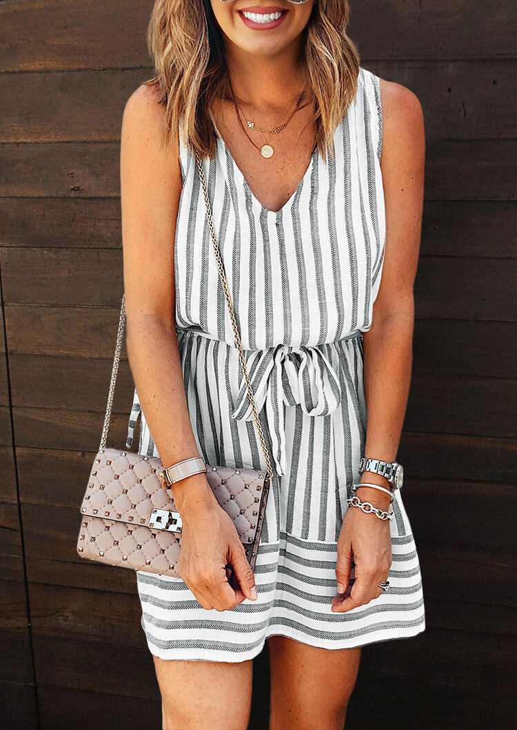 Striped Drawstring Tie Open Back Mini Dress without Necklace фото
