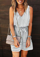 Summer New Arrivals Striped Drawstring Tie Open Back Mini Dress