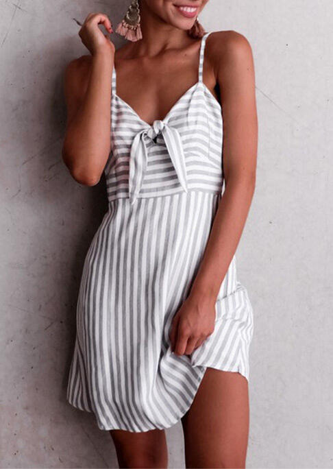 Striped Splicing Tie Spaghetti Strap Mini Dress фото