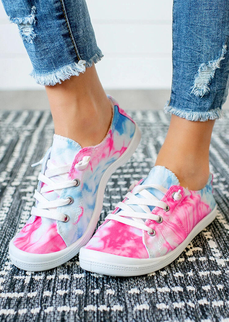 Tie Dye Lace Up Round Toe Flat Sneakers - Peach Red фото