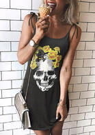 fairyseason clothing  - Floral Skull Spaghetti Strap Tie Mini Dress