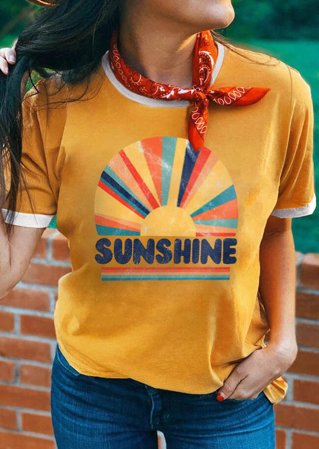 Sunshine Rainbow T-Shirt Tee without Scarf - Yellow фото