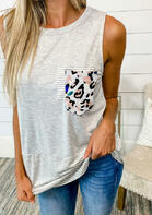 New Summer Arrivals Leopard Striped Splicing Pocket Tank