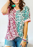 Bellelily New Arrivals Leopard Color Block Twist Blouse