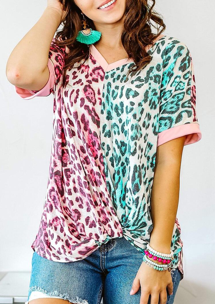 Leopard Color Block Twist Blouse фото