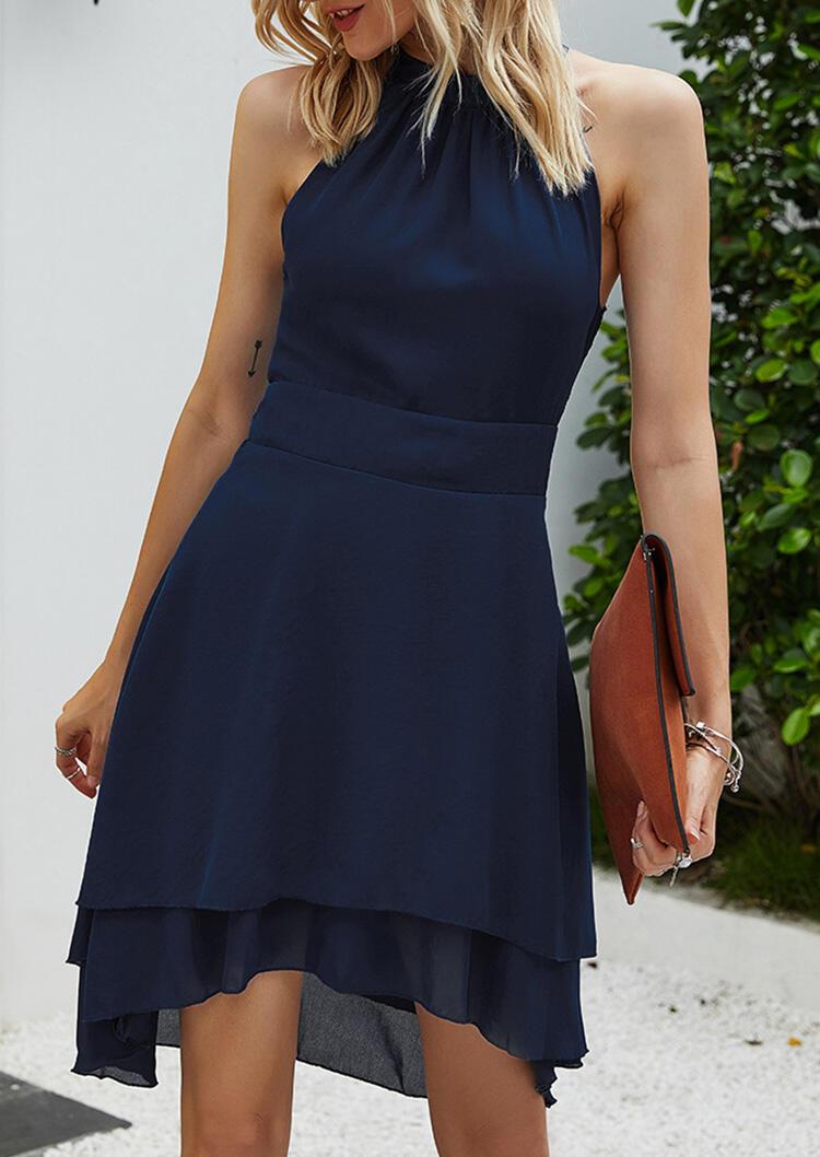 Mini Dresses Asymmetric Halter Button Zipper Open Back Mini Dress in Navy Blue. Size: M,XL фото