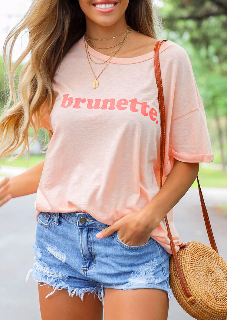 Brunette T-Shirt Tee without Necklace - Pink фото