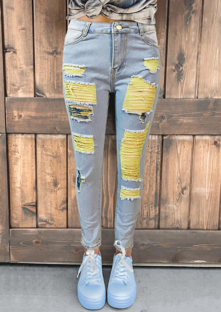 Ripped Color Block Pocket Jeans - Light Blue
