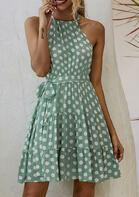 Polka Dot Ruffled Halter Tie Sleeveless Mini Dress