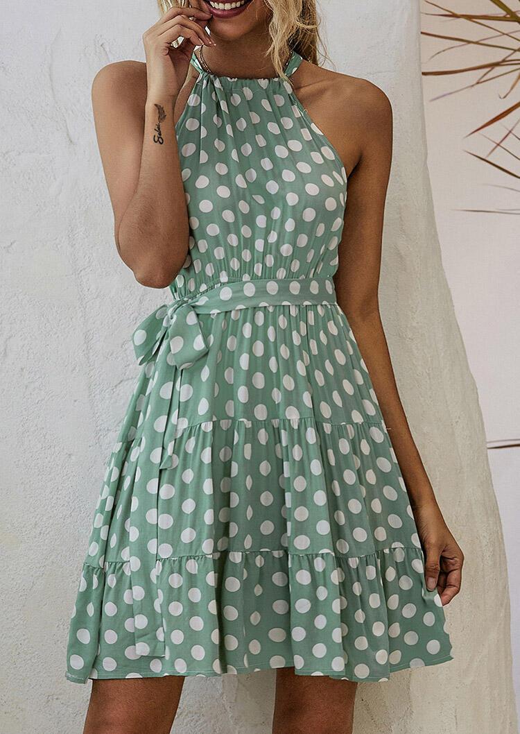Mini Dresses Polka Dot Ruffled Halter Tie Sleeveless Mini Dress in Light Green. Size: M,L,XL фото