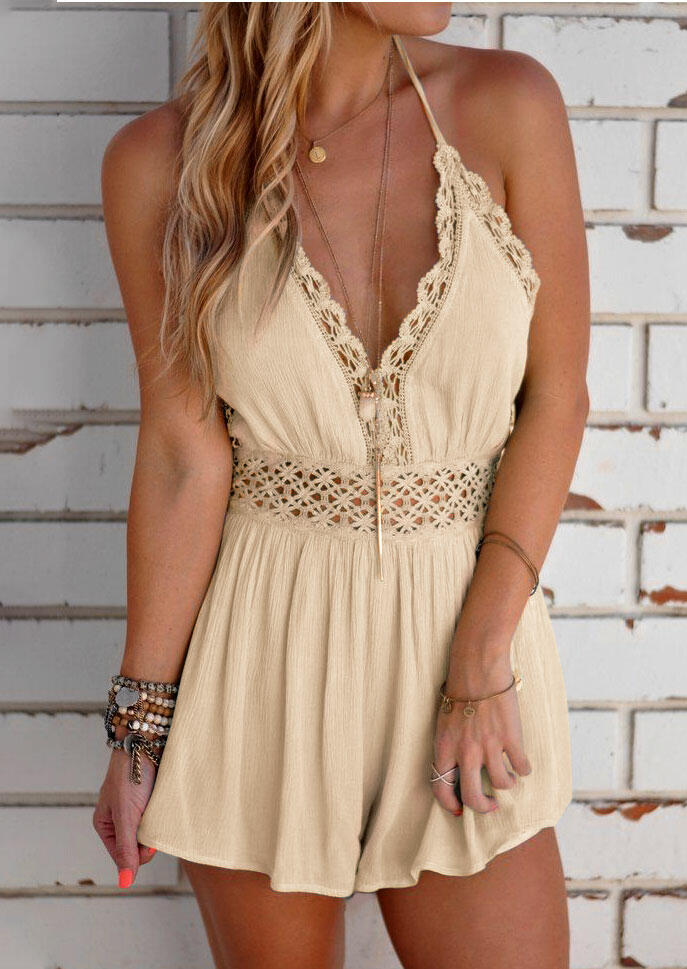 Hollow Out Tie Romper without Necklace - Apricot фото