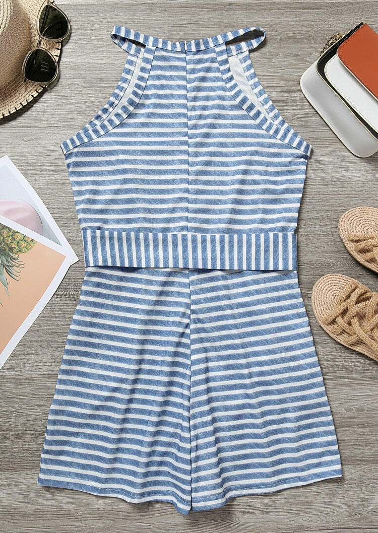 Striped Splicing Zipper Pocket Halter Romper with Belt - Blue